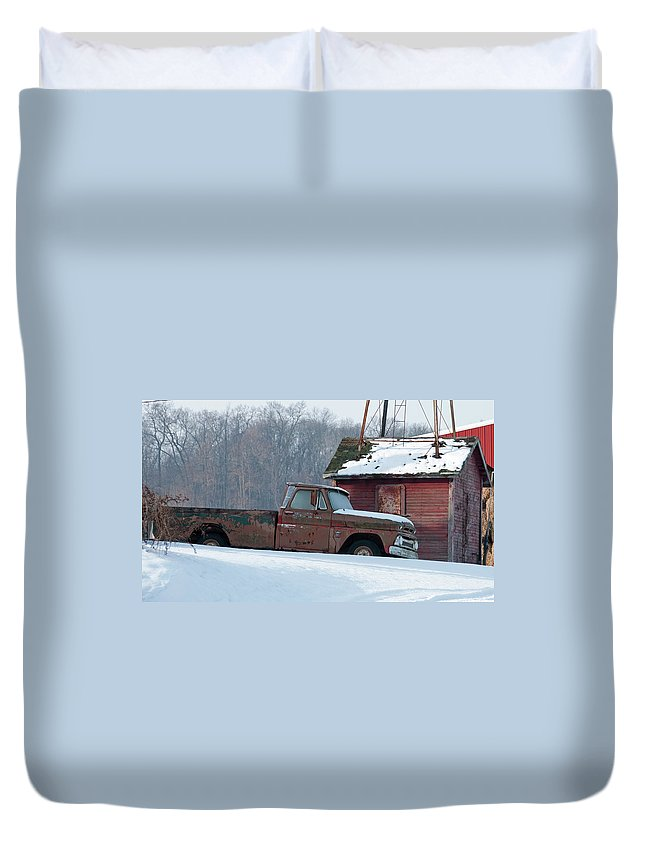 Truck Duvet Cover featuring the photograph Red Truck In The Snow by David Arment