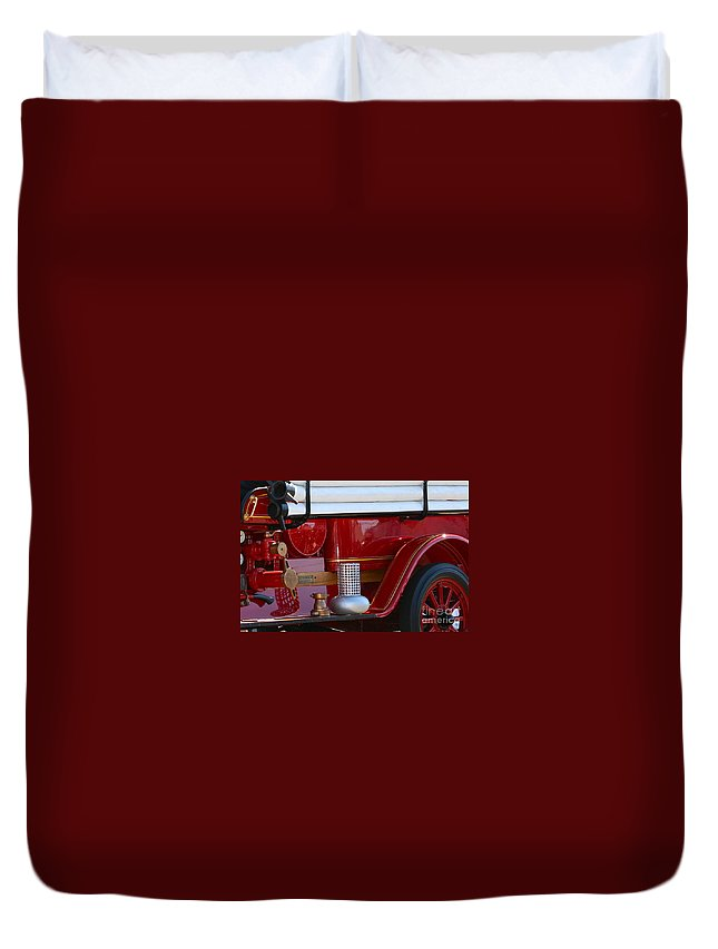 Fire Truck Duvet Cover featuring the photograph Red Truck by Rick Monyahan