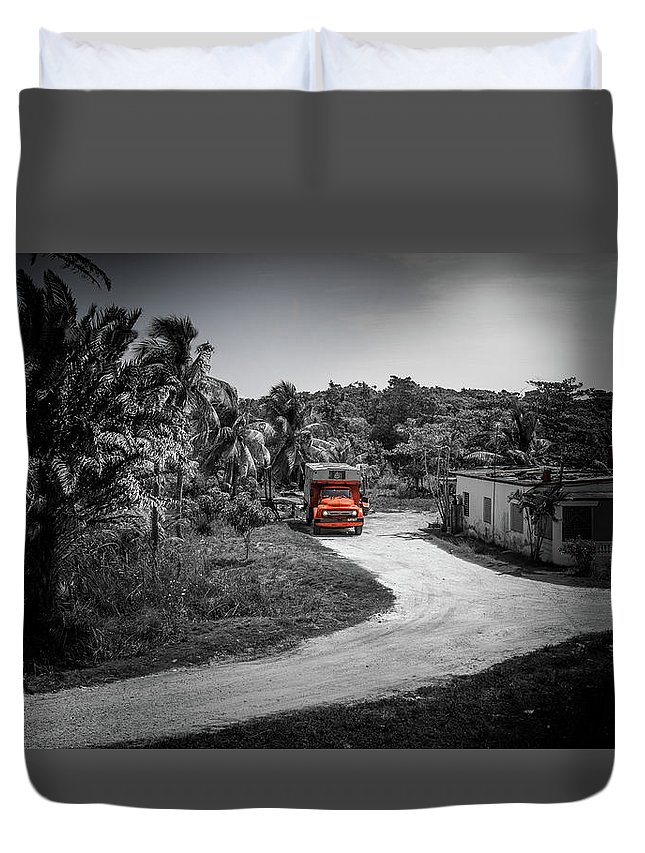 Lanscape Duvet Cover featuring the photograph Red Truck by Tommy Jaksic