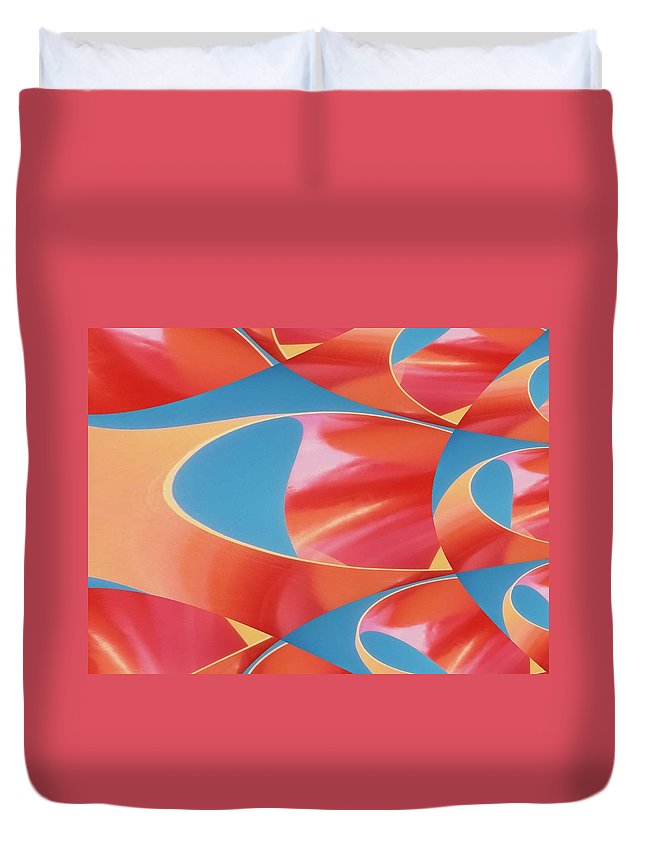 Tubes Duvet Cover featuring the digital art Red Tubes by Tim Allen