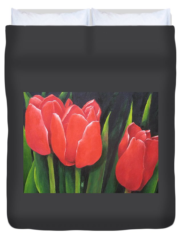 Red Tulips Duvet Cover featuring the painting Red Tulips by Diane Agius Calleja