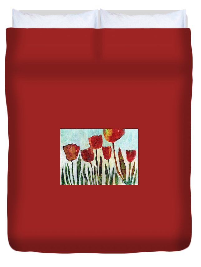 Red Tulips Duvet Cover featuring the painting Red Tulips by Julie Maas