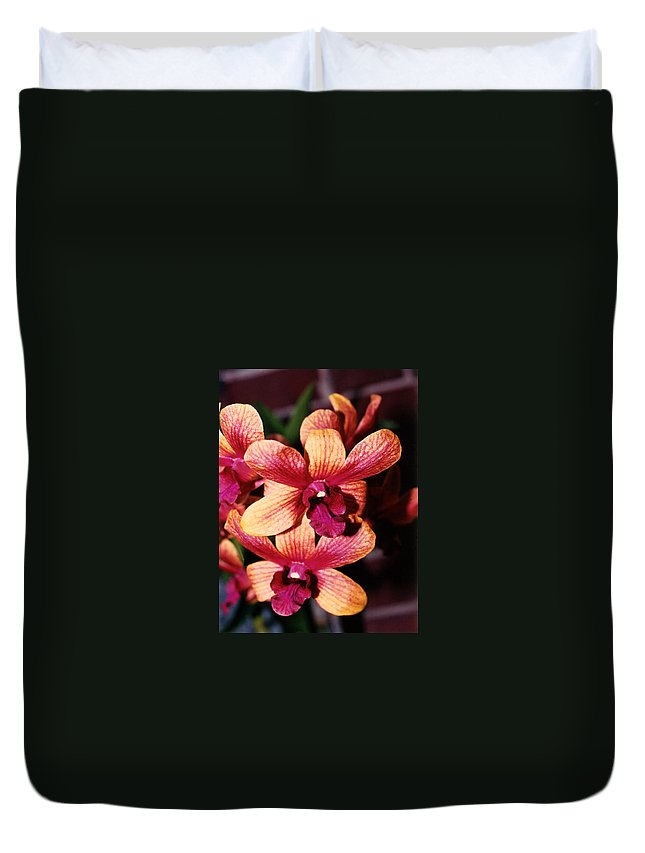 Orchid Duvet Cover featuring the photograph Red Twins by Susanne Van Hulst