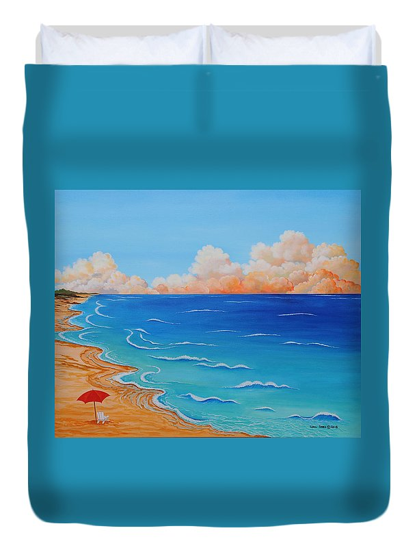 Ocean Duvet Cover featuring the painting Red Umbrella by Carol Sabo