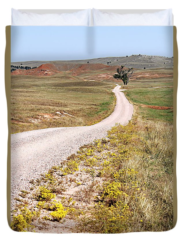 Red Valley Road Duvet Cover featuring the photograph Red Valley Road by Larry Ricker