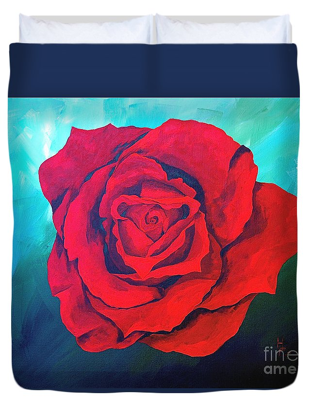 Red Rose Deep Red Rose 3d Ice Rose Duvet Cover featuring the painting Red Velvet by Herschel Fall