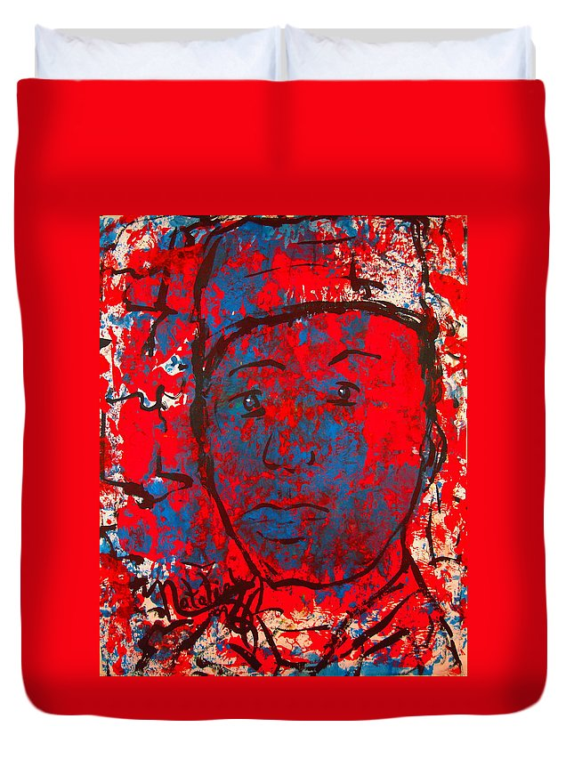 Man Duvet Cover featuring the painting Red White And Blue by Natalie Holland