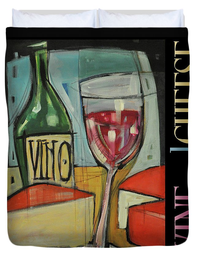 Red Wine Duvet Cover featuring the painting Red Wine And Cheese Poster by Tim Nyberg