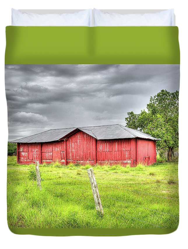 Landscape Duvet Cover featuring the photograph Red Wood Barn - Edna, Tx by Greg Vajdos