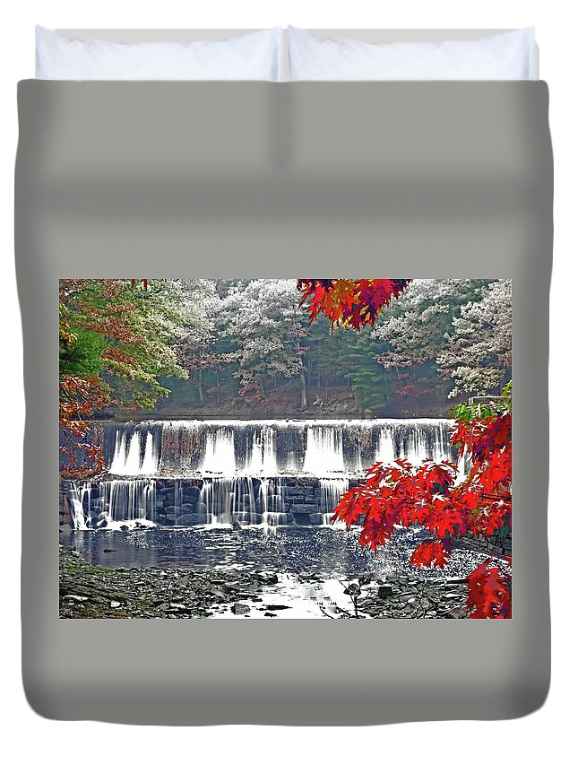 Waterfalls Duvet Cover featuring the photograph Red Zone by Jeff Cooper