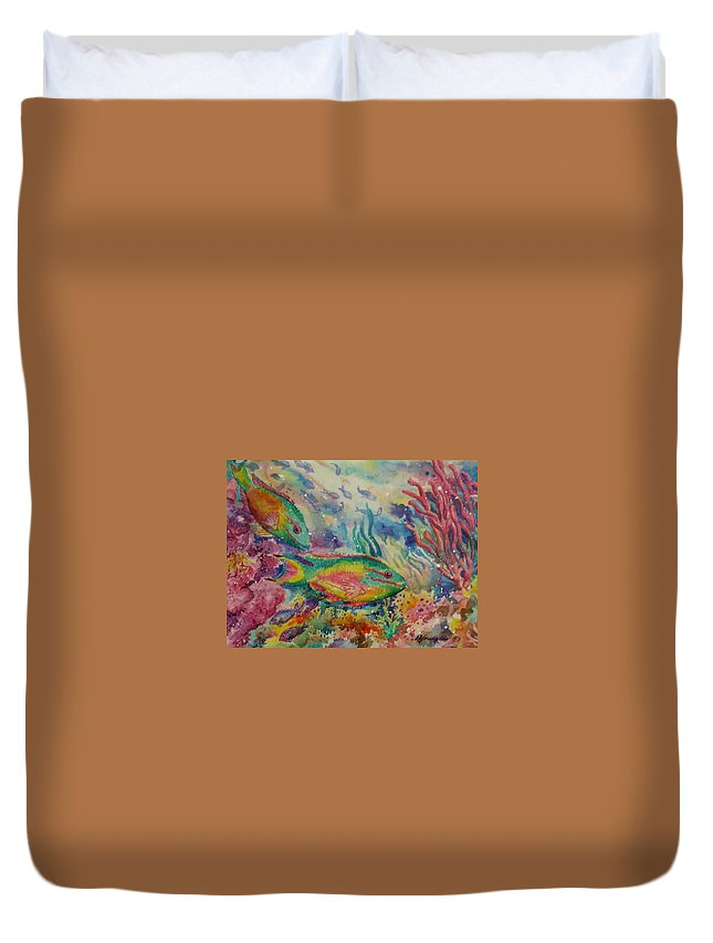 Fish Duvet Cover featuring the painting Redband Parrotfish by Deborah Younglao