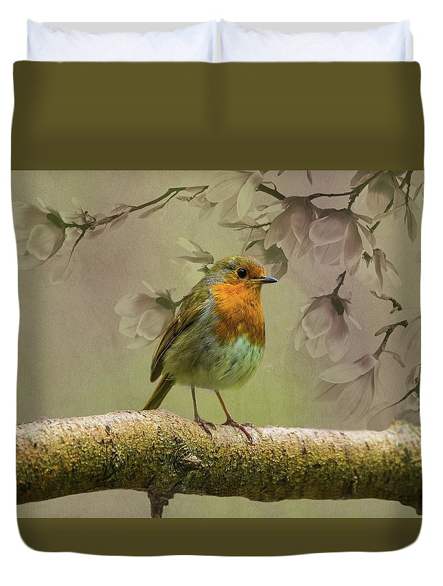 Redbreast Duvet Cover featuring the photograph Redbreast Bird by Movie Poster Prints