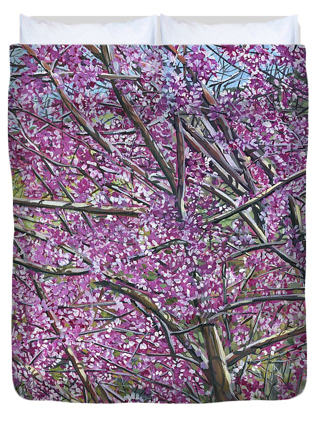 Redbud Duvet Cover featuring the painting Redbud Tree by Nadi Spencer