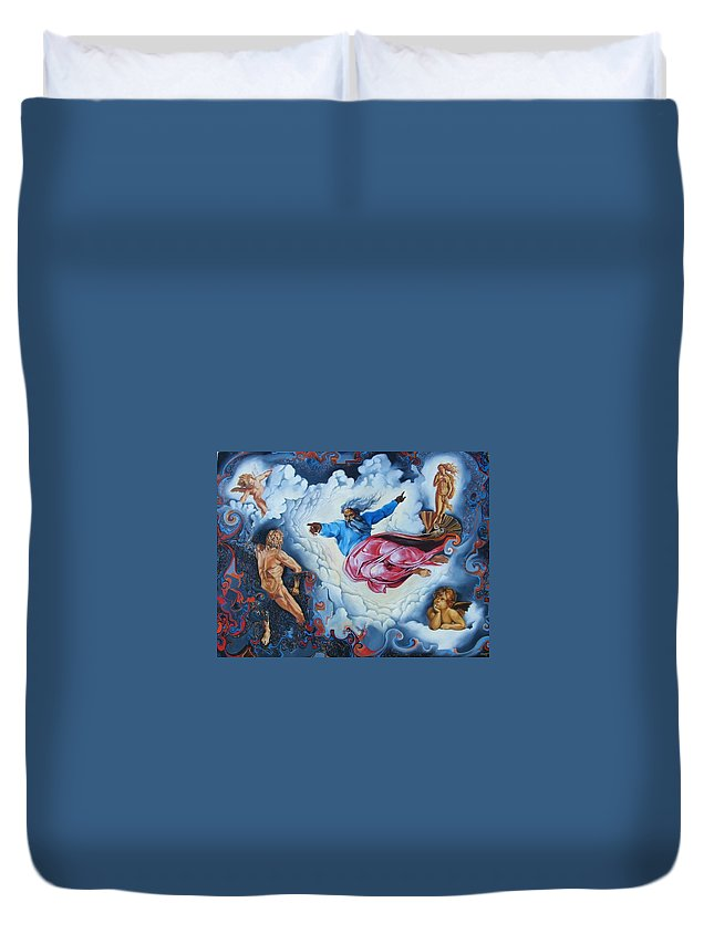 Surrealism Duvet Cover featuring the painting Redemption by Darwin Leon