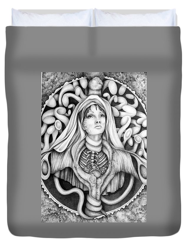 Surreal Duvet Cover featuring the drawing Redemption by Janelle McKain