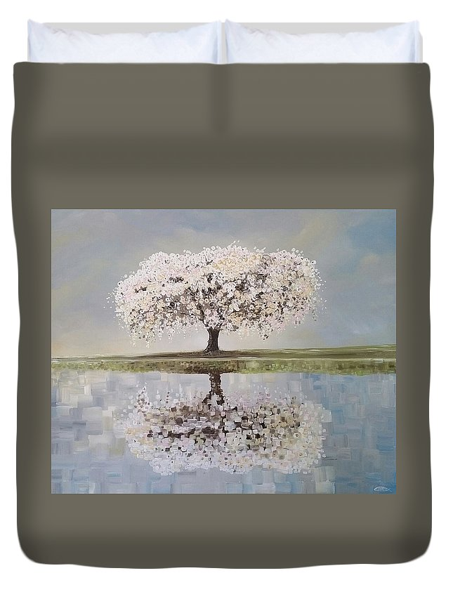 Tree Duvet Cover featuring the painting Redemption Season by Deda Happel