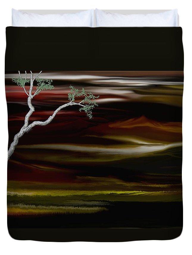Digital Landscape Duvet Cover featuring the digital art Redscape by David Lane