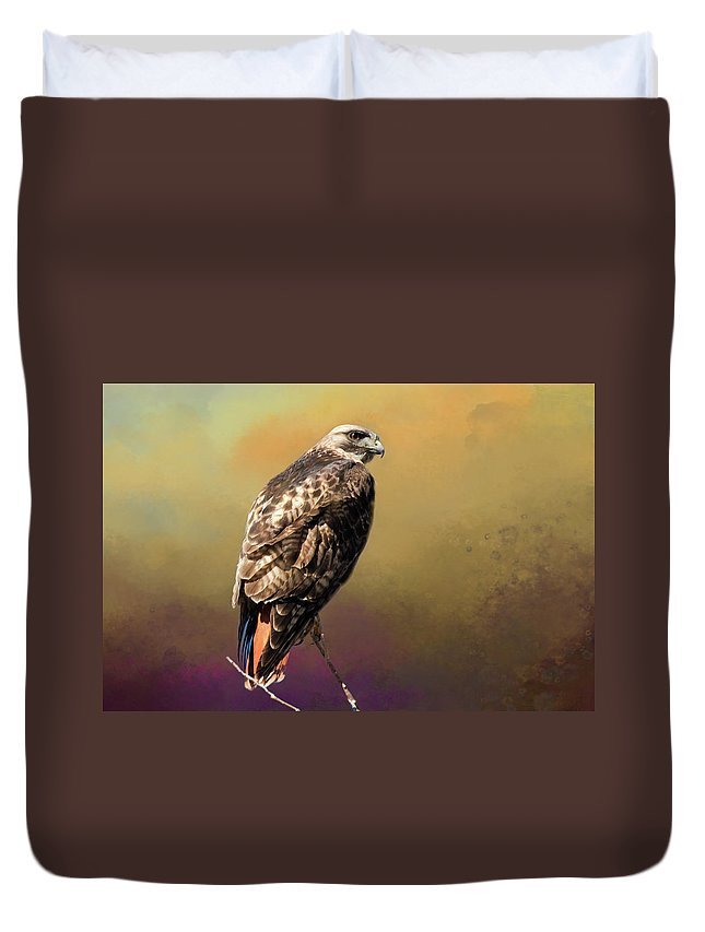 Wildlife Photography Duvet Cover featuring the photograph Redtail Portrait by John Bartelt