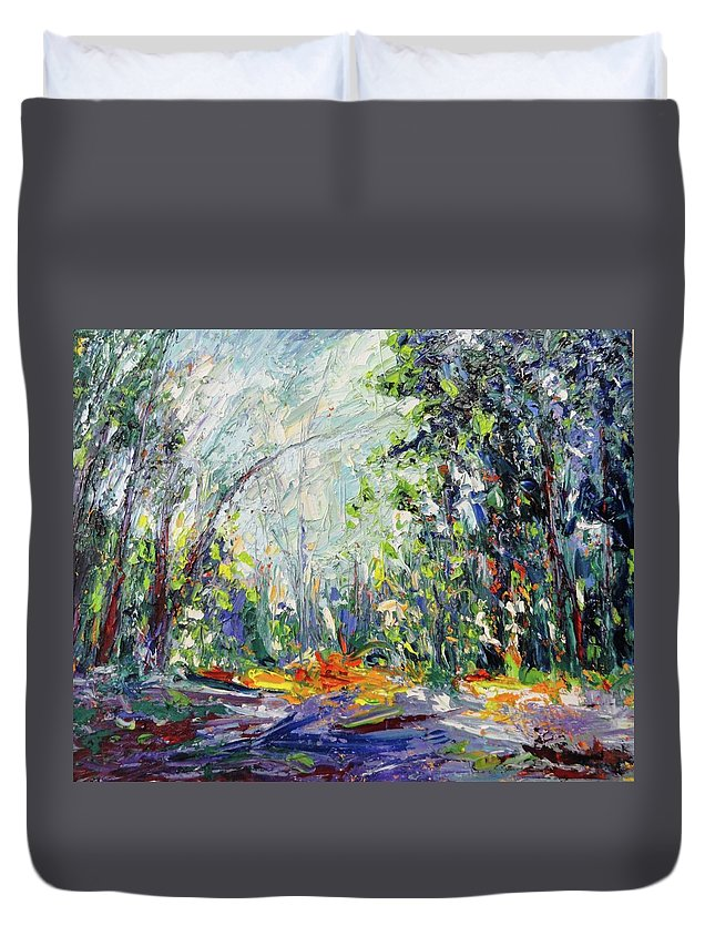Oil Duvet Cover featuring the painting Redwood Dream by Shannon Grissom