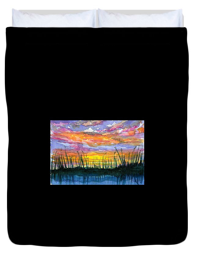 Sunset Duvet Cover featuring the painting Reedy Sunset by Anne Marie Brown