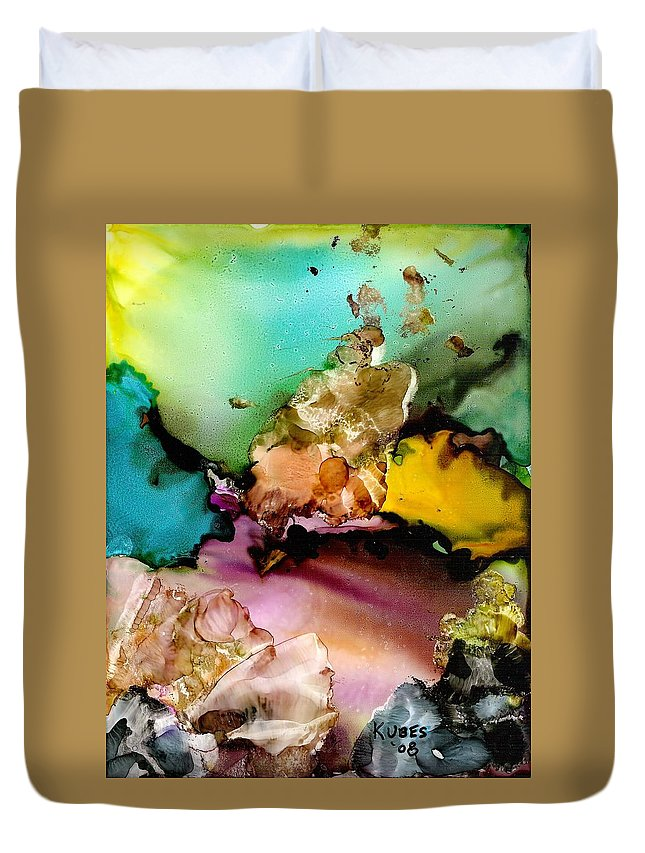 Reef Duvet Cover featuring the mixed media Reef 3 by Susan Kubes