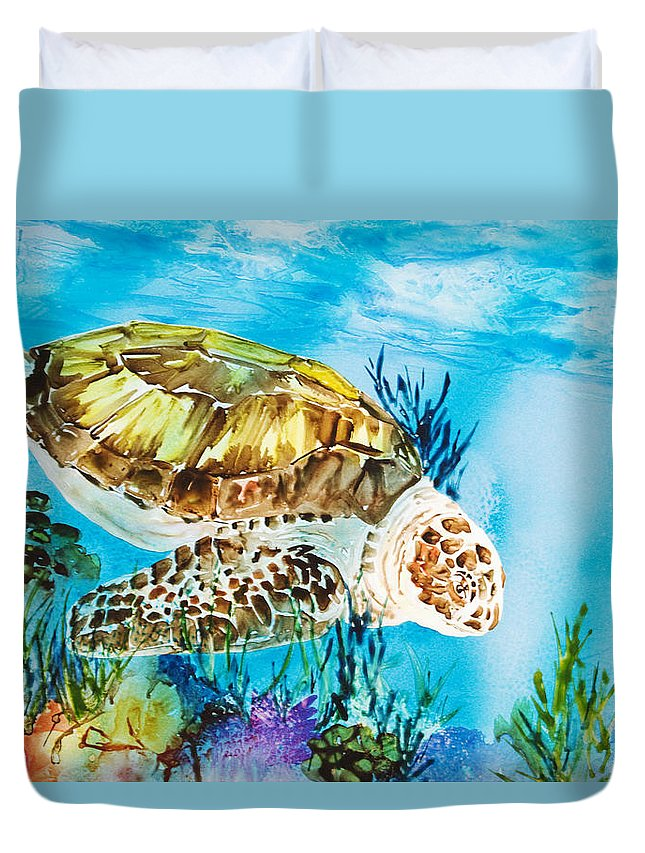 Alongside Duvet Cover featuring the painting Reef Surfin by Tanya L Haynes - Printscapes