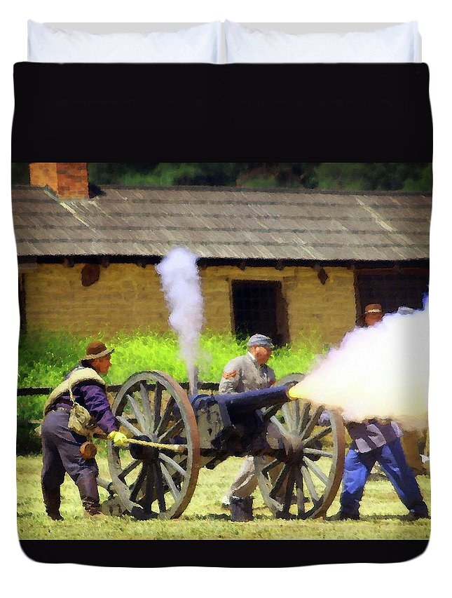 Civil War Duvet Cover featuring the photograph Reenactors 2 by Timothy Bulone