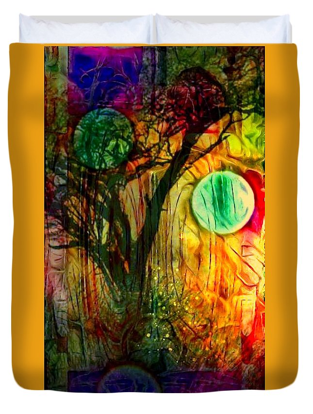 Duvet Cover featuring the digital art Reflect by Larry Nyman