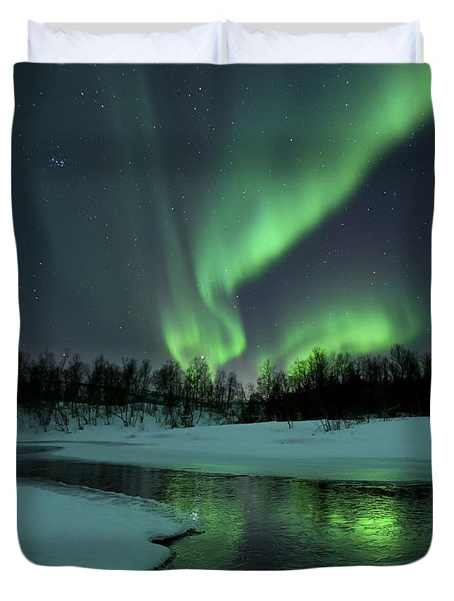 Green Duvet Cover featuring the photograph Reflected Aurora Over A Frozen Laksa by Arild Heitmann