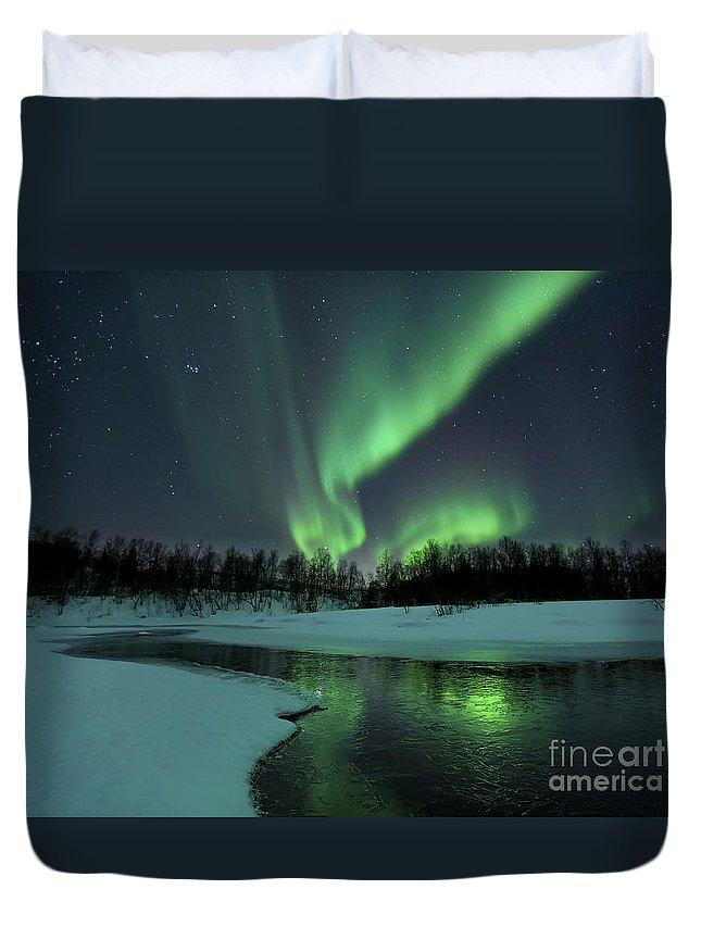 Green Duvet Cover featuring the photograph Reflected Aurora Over A Frozen Laksa by Arild Heitmann
