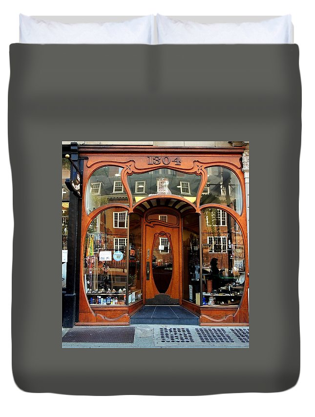 Storefront Duvet Cover featuring the photograph Reflecting On A Cambridge Shoe Shine by Vincent Green