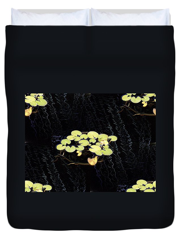 Lillies Duvet Cover featuring the digital art Reflecting Pool Lilies by Tim Allen