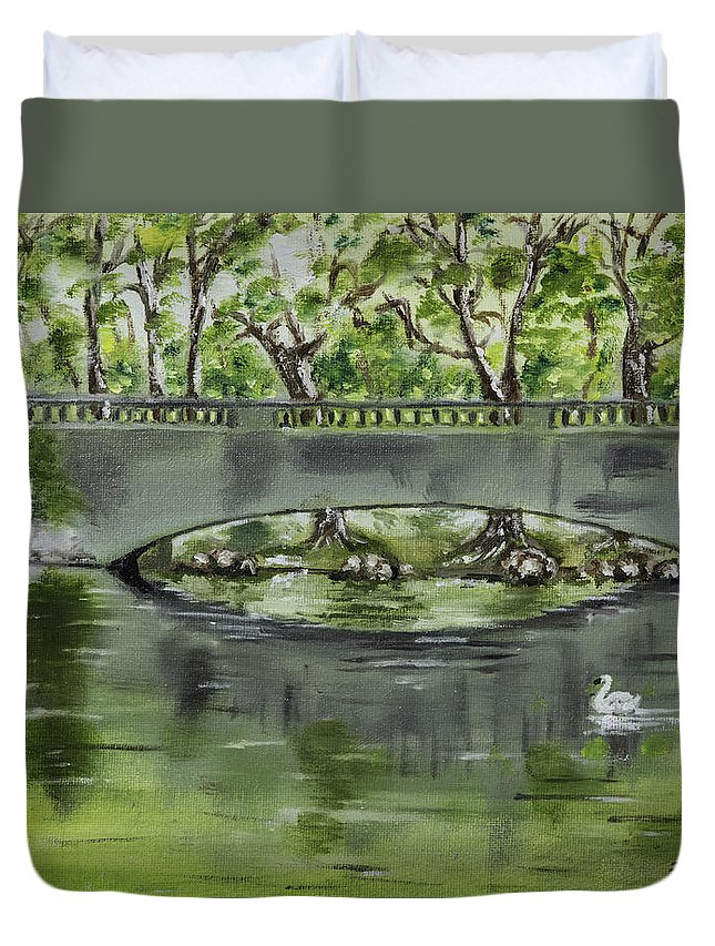 River Duvet Cover featuring the photograph Bridge Over The River by Jim McGraw