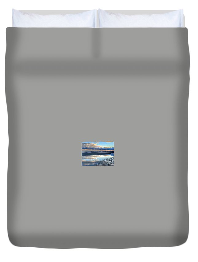 Beach Duvet Cover featuring the photograph Reflecting Sky by MaryLou England