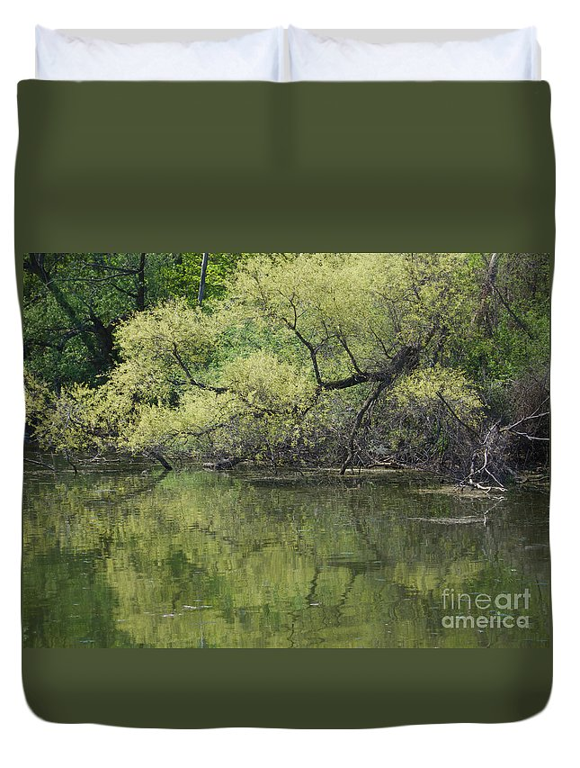 Trees Duvet Cover featuring the photograph Reflecting Spring Green by Ann Horn