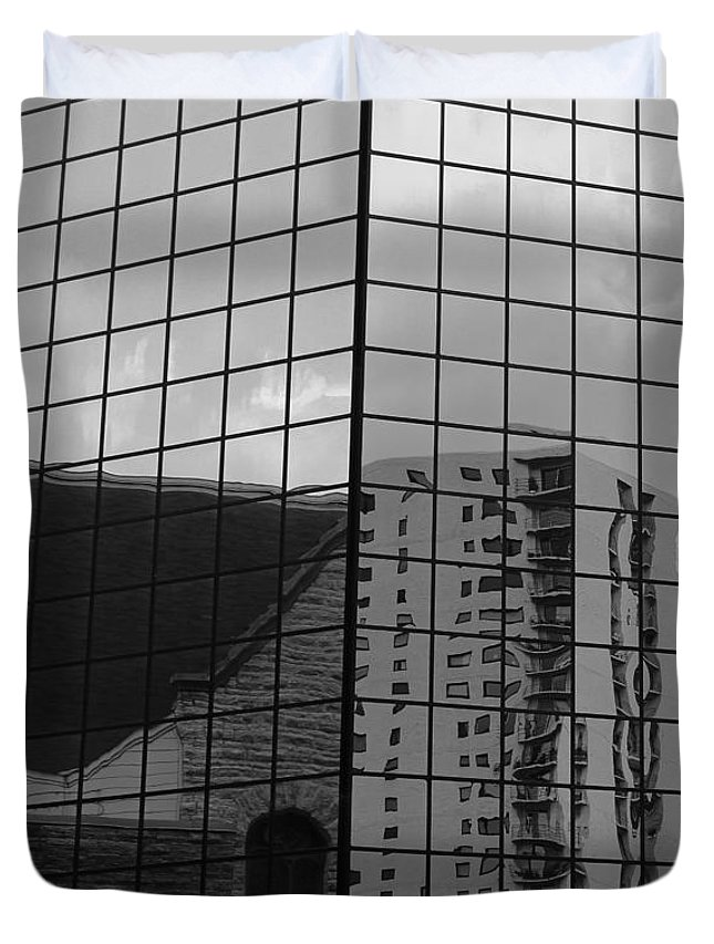 Cityscape Duvet Cover featuring the photograph Reflection #8 by Stephanie Berry