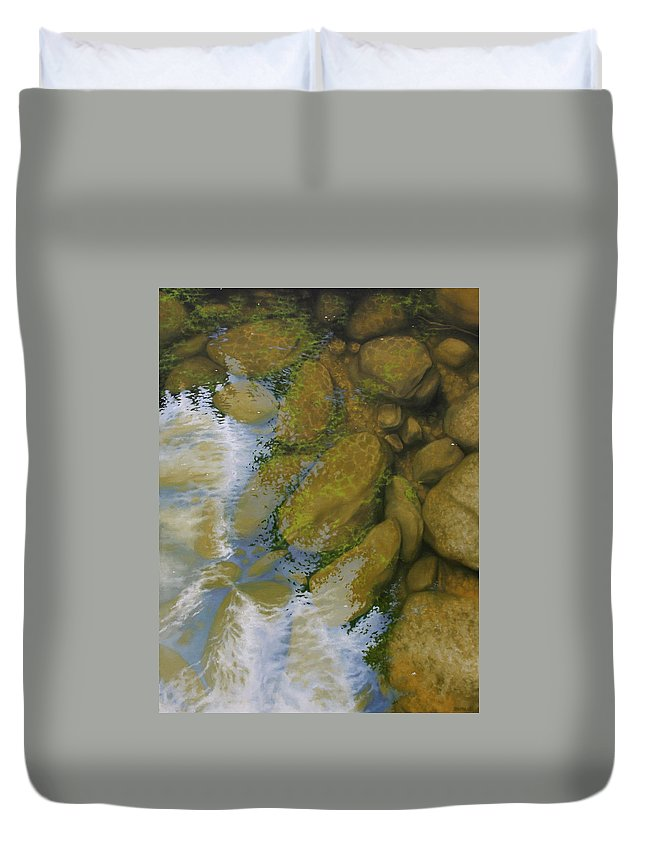 Water Duvet Cover featuring the painting Reflection And Transparency by Jason Sawtelle