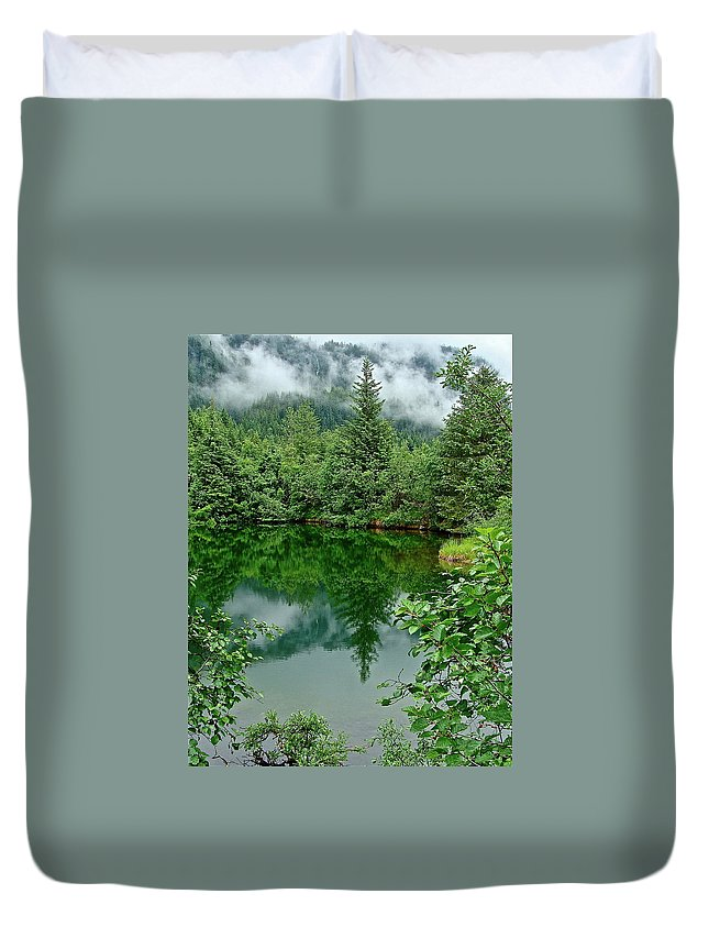 Trees Duvet Cover featuring the photograph Reflection by Diana Hatcher