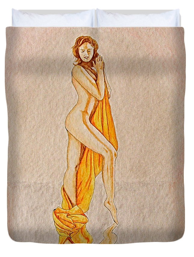 Nude Duvet Cover featuring the painting Reflection by Herschel Fall