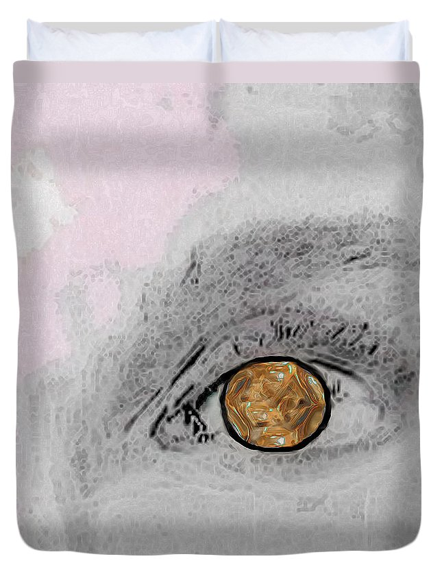 Eye Duvet Cover featuring the digital art Reflection In A Golden Eye by RC DeWinter
