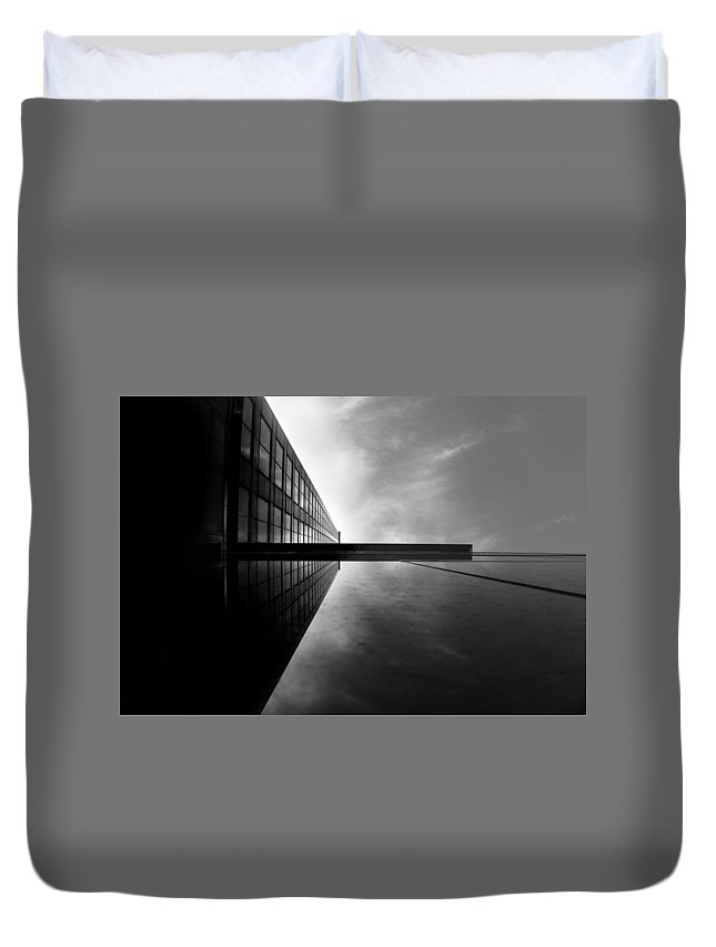 Building Architecture Future Illusion Sideways Dark Lovely Pathway Dystopia Reflection Duvet Cover featuring the photograph Reflection by Kyle Smith