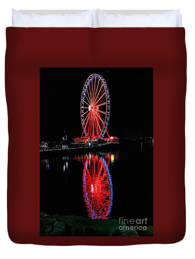 Ferris Duvet Cover featuring the digital art Reflection Of A Wheel by Dan Stone