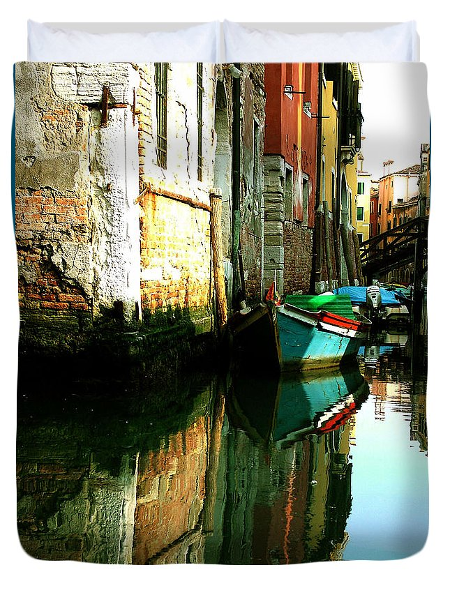 Venice Duvet Cover featuring the photograph Reflection Of The Wooden Boat by Donna Corless