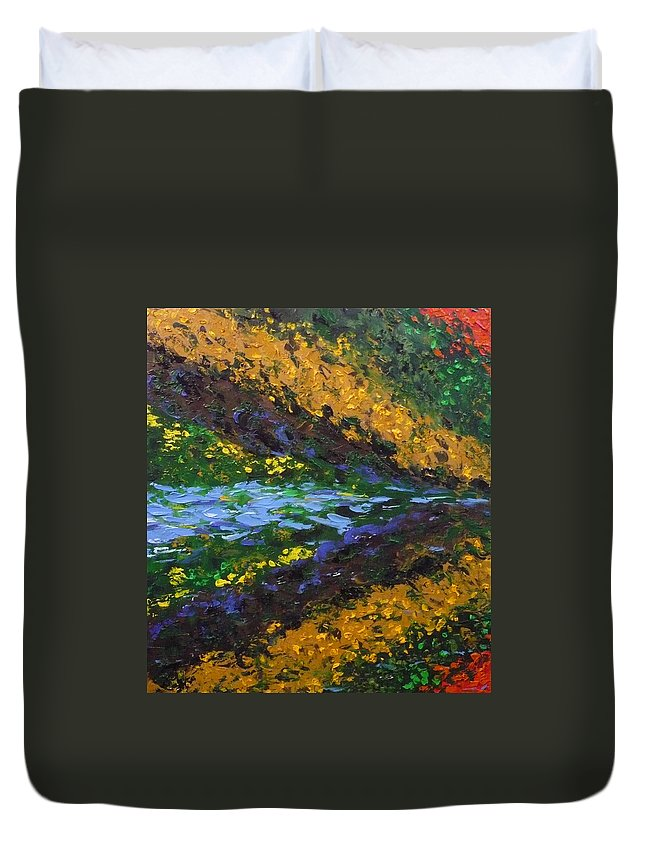 Landscape Duvet Cover featuring the painting Reflection One by Ericka Herazo