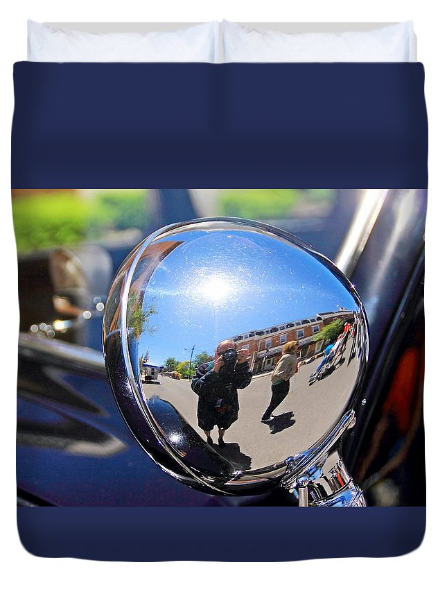 Reflection Duvet Cover featuring the photograph Reflection Selfie by Karl Rose