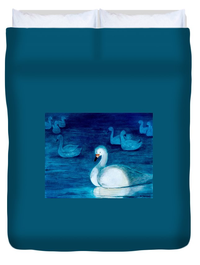 Duck Duvet Cover featuring the painting Reflections 1 by Jun Jamosmos