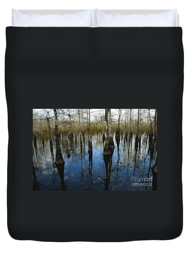 Bald Cypress Trees Duvet Cover featuring the photograph Reflections At Big Cypress by David Lee Thompson