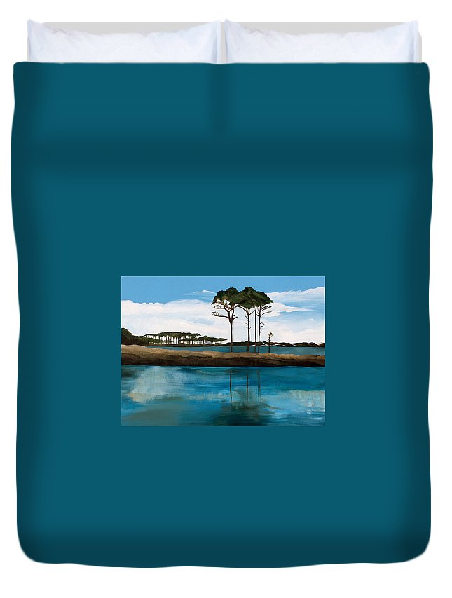 Beach Duvet Cover featuring the painting Reflections At Western Lake by Racquel Morgan