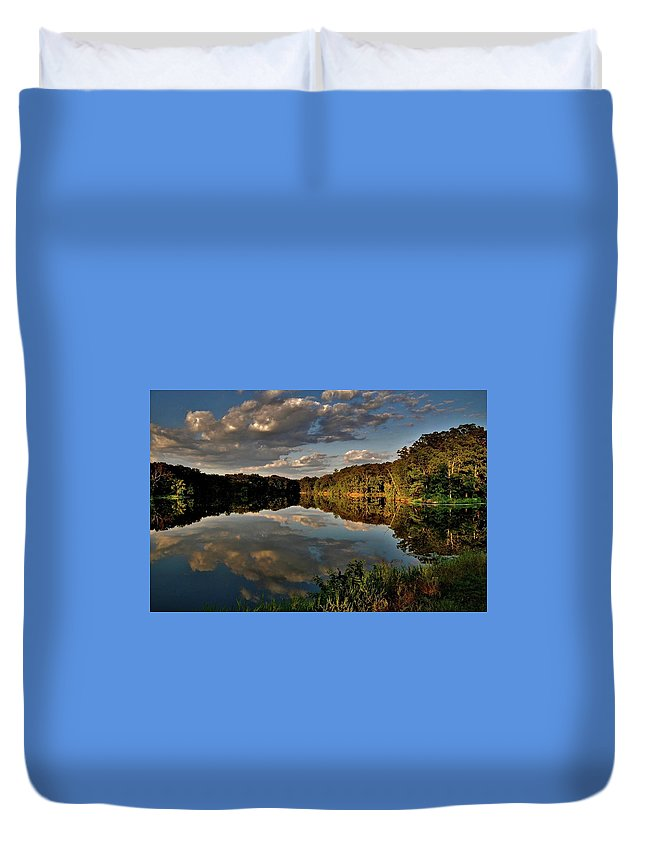 Reflections At The Lake Duvet Cover featuring the photograph Reflections by Debby Lesko