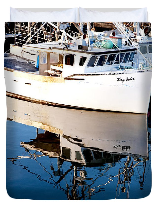 Boat Duvet Cover featuring the photograph Reflections by Greg Fortier